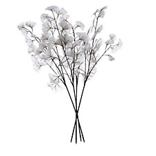 706032 - Alison Cork Set of 4 Glittered Ginkgo Leaves Stems