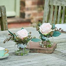 707733 - Peony Set of 2 Roses & Eucalyptus in Fishbowls