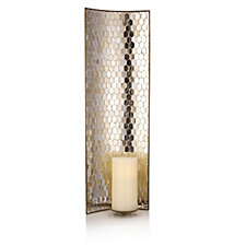 Home Reflections Vintage Mosaic Wall Sconce with LED Candle