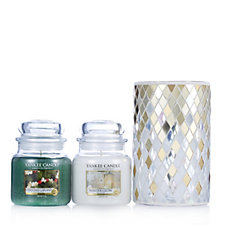 706435 - Yankee Candle Set of 2 Christmas Holiday Medium Jars w/Mosaic Holder
