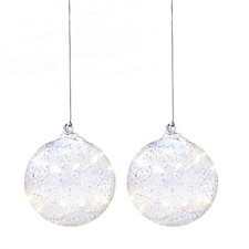 Home Reflections Set of 2 Iridescent Baubles with Copper Wire Light Chain