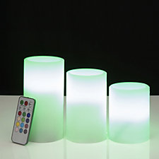 Set Of 3 Colour Changing LED Candles with Remote Control