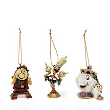 Disney Traditions Beauty & The Beast Set of 3 Hanging Ornaments