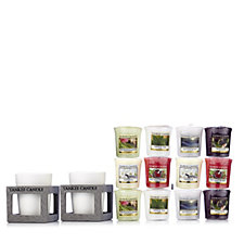 Yankee Candle Grey Rustic Modern Votive Holders with 12 Votives