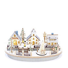 Wooden Musical Christmas Scene with LED Lights