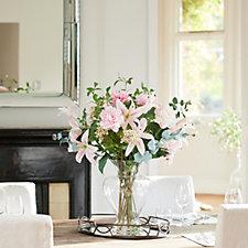 Peony Casablanca Lilies Peonies & Waxflower in a Hourglass Vase