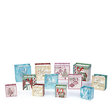 Lindy Bowman 12 Piece Christmas Square Embossed Gift Bags