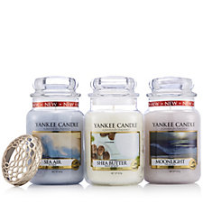 Yankee Candle Set of 3 Twilight Dusk Large Jars & Iluma Lid