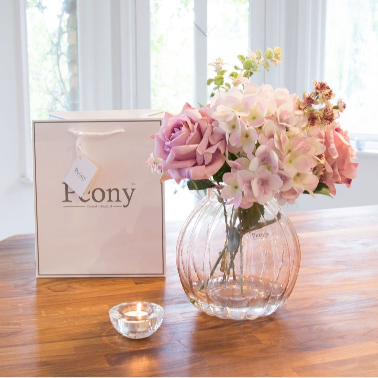 Peony home kitchen qvc uk peony hydrangeas roses foliage in pumpkin shape vase with gift bag 708042 reviewsmspy