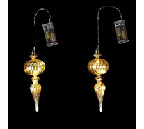 Alison Cork Set of 2 Pre-lit LED Mercury Glass Decorations - 704443