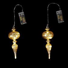 704443 - Alison Cork Set of 2 Pre-lit LED Mercury Glass Decorations
