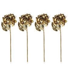 705043 - Alison Cork Set of 4 Glitter Gold Hydrangea