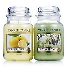 Yankee Candle Set of 2 Olive, Thyme & Sicilian Lemon Large Jars
