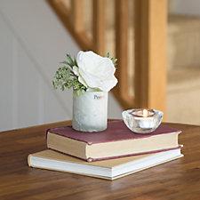 Peony Rose Patrinia & Rosemary in a Crackled Vase