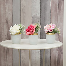 708043 - Peony Set of 3 Roses & Foliage in Gold Rimmed White Vases