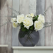 708045 - Peony Roses in Cut Glass Bowl with Silver Glow in the Dark Eucalyptus