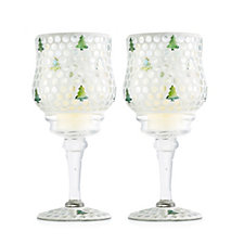 Home Reflections Set of 2 Christmas Tree Mosaic Stemmed Candle Holders