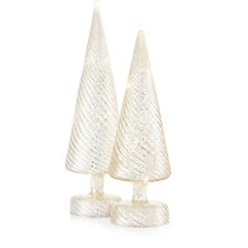 Mr Christmas Set of 2 Mercury Glass Trees