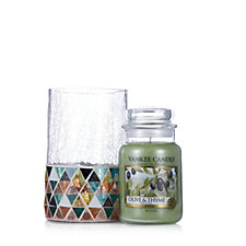 Yankee Candle Corsica Mosaic Jar Holder with Olive & Thyme Large Jar