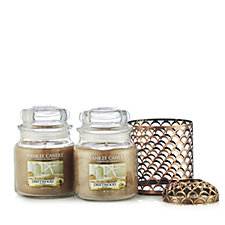 Yankee Candle Set of 2 Medium Jars with Fresh Ocean Jar Holder & Iluma Lid