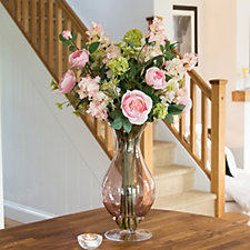Peony Hydrangeas Roses & Foliage in an Hourglass Vase