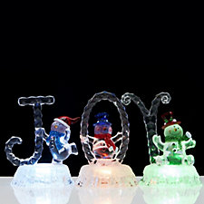 Santa Express Set of 3 Pre-lit Snowman Ornaments