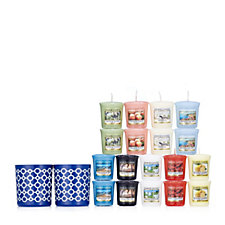 Yankee Candle Blue Sanremo Votive Holders with 18 Votives