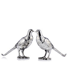Alison Cork Set of 2 Decorative Pewter Peahens