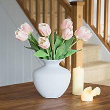 Peony Tulips in Opaque Vase