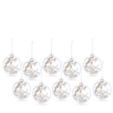 Alison Cork Set of 10 Encapsulated Snowy Woodland Glass Baubles