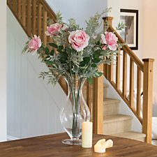 Peony Greenery & Roses in Footed Vase