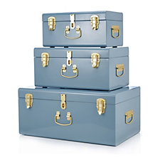 BundleBerry by Amanda Holden Set of 3 Nesting Metal Storage Trunks