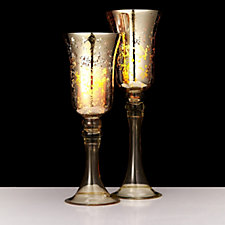 Bella Notte Set of two Mercury Glass Pillars with LED Candles