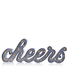 705456 - Home Reflections Cheers Metal Sign in Grey with LED Lights