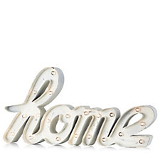 705457 - Home Reflections Home Metal Sign in White with LED Lights