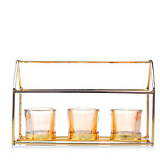 Home Reflections Votive Tray with Three Glass Holders