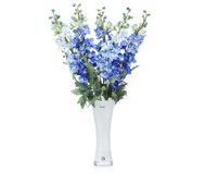 Peony Delphiniums in Tall White Vase