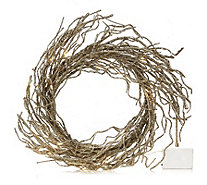 Alison Cork Warm White LED Pewter Glitter Wreath - 703558