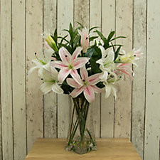 Peony Casablanca Lily Mix in a Twisted Vase
