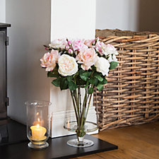 Peony Mixed Roses in Footed Vase
