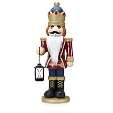 Santa Express Standing Nutcracker with Flameless Lantern