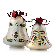 Bella Notte Set of 2 Glittered Glass Bells with LED Lights