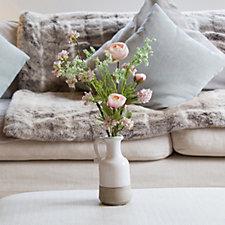 Peony Ranunculus & Blossom in Ceramic Jug