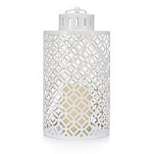 705462 - Home Reflections White Fretwork Metal Lantern with LED Candle