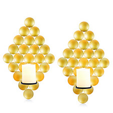 Decorative Set of 2 Hanging Gold Wall Plaques with LED Candle