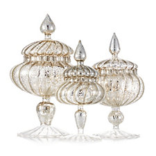 704763 - Alison Cork Set of 3 Antique Style Mecury Glass Jars with LED Lights