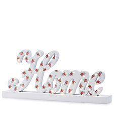 Home Wooden Sign with LED Lights & Floral Pattern
