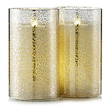 Set of 2 Mercury Glass Candles with LED Light