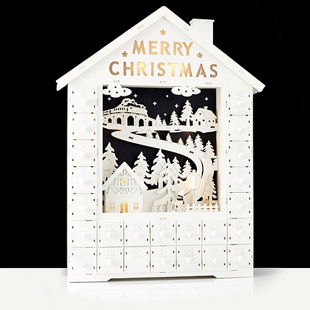 Home Reflections Pre-lit Decorative Wooden House Advent Calendar