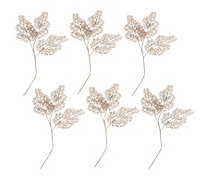 Alison Cork 6 Rose Gold Leaf Stems with Glitter Finish - 705966